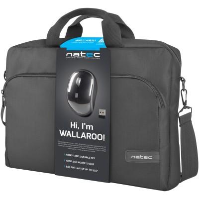 "Geanta notebook cu mouse wireless Natec Wallaroo 15.6"" black"