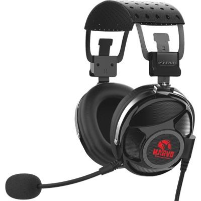 Casti Marvo HG9053, 7.1 Virtual, USB, negru-rosu
