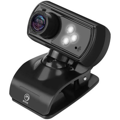 Camera web Marvo MPC01, 5MP, Full HD, microfon, iluminare LED (Negru)