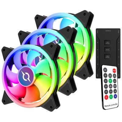 Kit 3 ventilatoare 120 mm RGB cu telecomanda si controller AQIRYS Aries, 1200 rpm, 6-pin