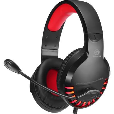 Casti Marvo HG8932, stereo, jack 3.5 mm, USB, negru-rosu