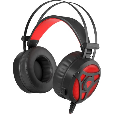 Casti Genesis Neon 360, stereo, 2.5mm, USB, negru-rosu