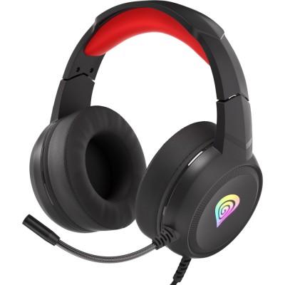 Casti Genesis Neon 200 RGB, stereo, 2.5mm, USB, negru-rosu