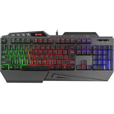 Tastatura Fury Skyraider, iluminare Rainbow, USB, negru