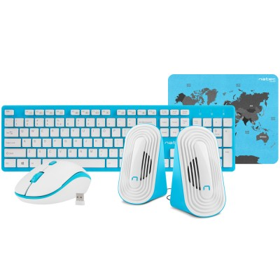 Kit tastatura, mouse, casti si mousepad Natec Tetra Wireless blue-white